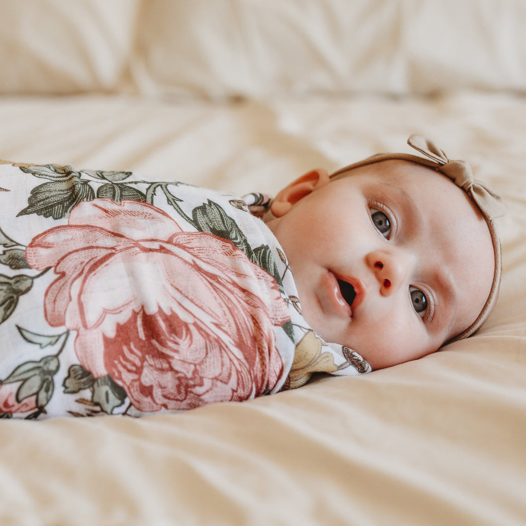 The Mini Scout | Garden Floral | White | Swaddle | White Fox & Co