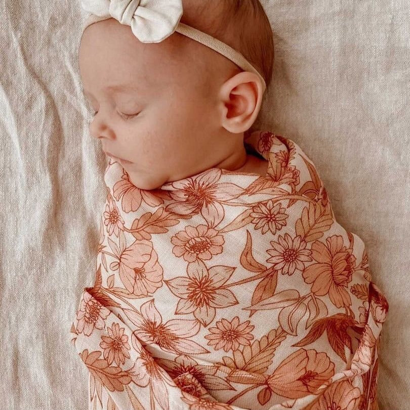 Mae + Rae | Pink Bloom Swaddle | White Fox & Co