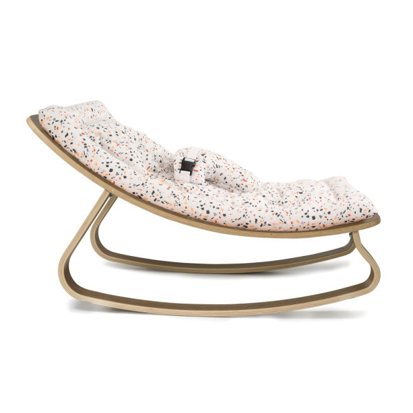 Charlie Crane Levo Baby Rocker | Walnut with Milinane Terrazzo Cushion | White Fox & Co