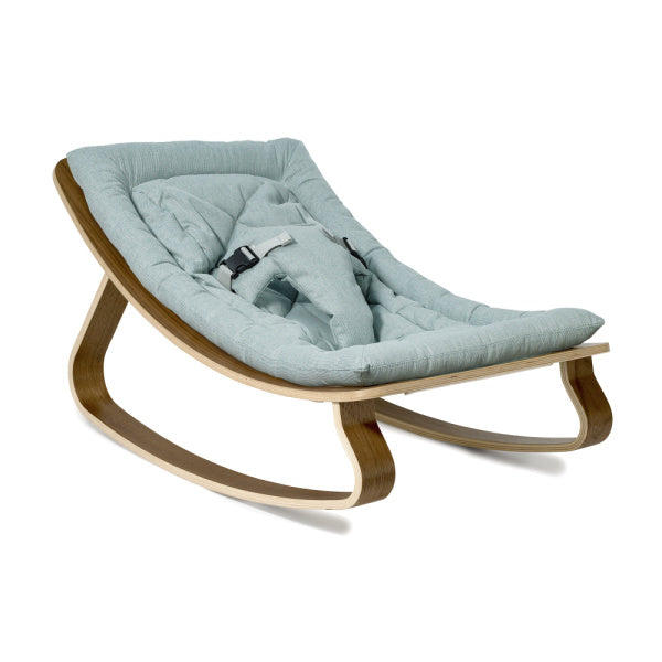 Charlie Crane Levo Baby Rocker | Walnut with Aruba Blue Cushion | White Fox & Co