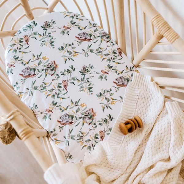 Snuggle Hunny Kids | Bassinet Sheet | Eucalypt | White Fox & Co