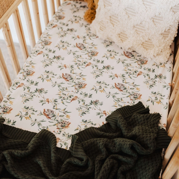 Snuggle Hunny Kids | Fitted Cot Sheet | Eucalypt | White Fox & Co
