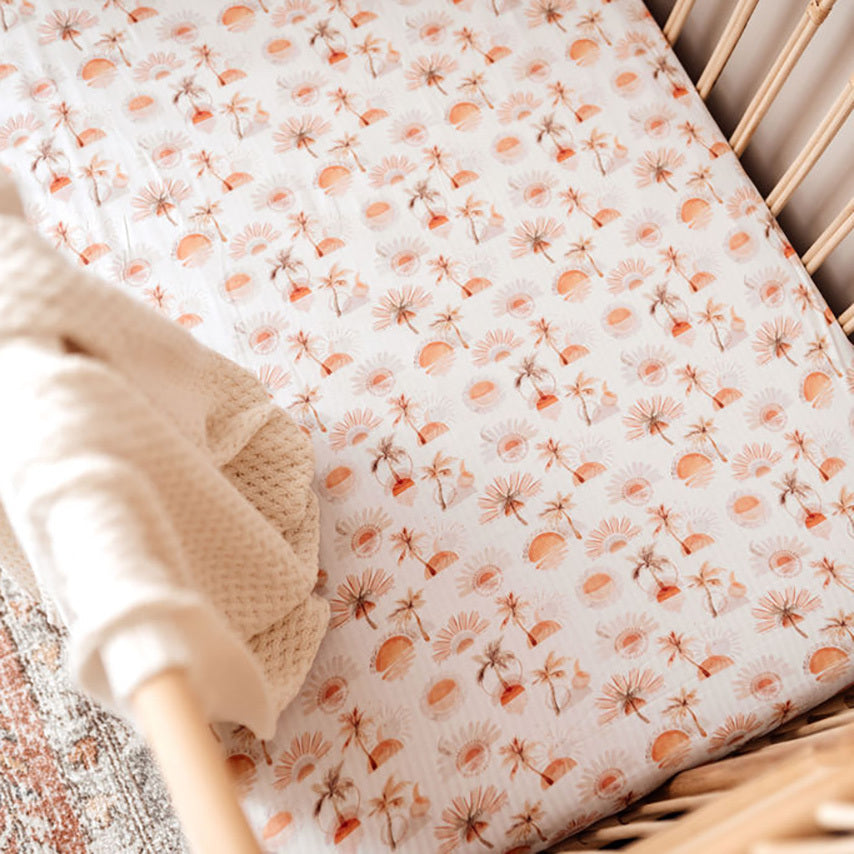 Snuggle Hunny Kids | Fitted Cot Sheet | Paradise | White Fox & Co