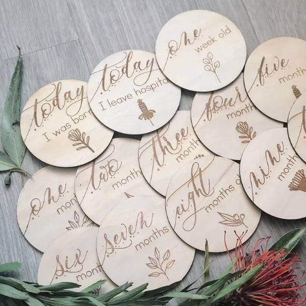 Hello Fern | Month Milestone Discs | Australiana | White Fox & Co