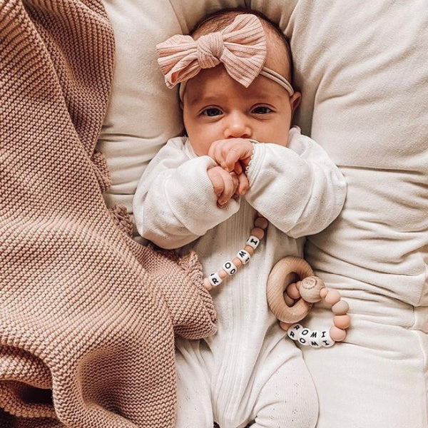 Mae + Rae | Ribbed Bow Headband | Dusty Pink | White Fox & Co