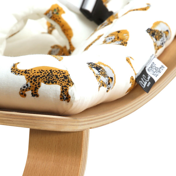 Charlie Crane Levo Baby Rocker | Beech with Jaguar Cushion | White Fox & Co