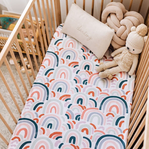 Snuggle Hunny Kids | Rainbow Baby Fitted Cot Sheet  | White Fox & Co
