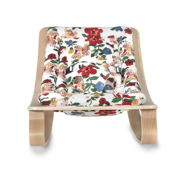 Charlie Crane Levo Baby Rocker | Beech with Hibiscus Cushion