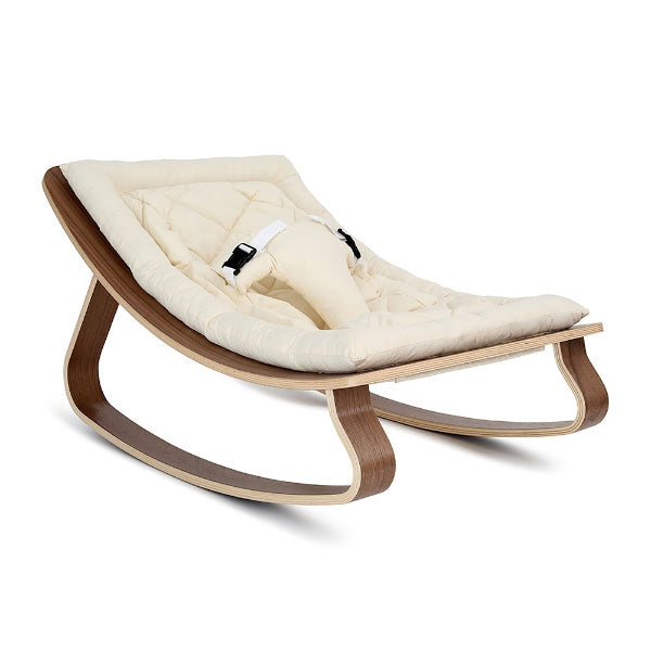 Charlie Crane Levo Baby Rocker | Walnut with Organic White cushion
