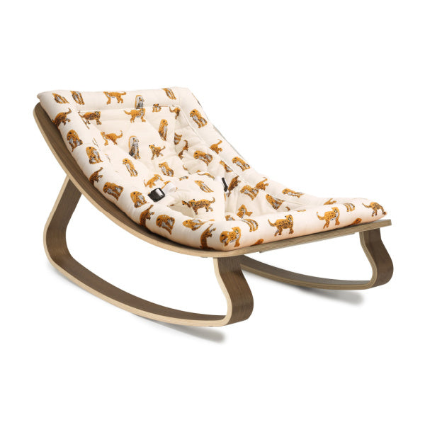 Charlie Crane Levo Baby Rocker | Walnut with Jaguar Cushion | White Fox & Co