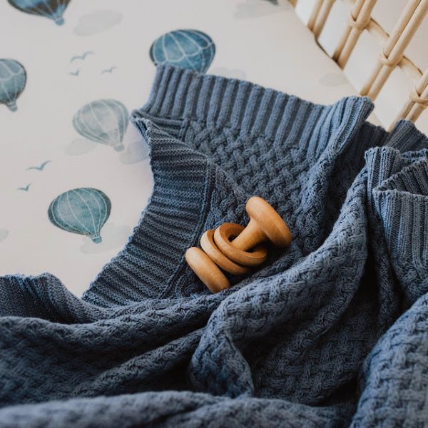 Snuggle Hunny Kids | Diamond Knit Blanket | River | White Fox & Co