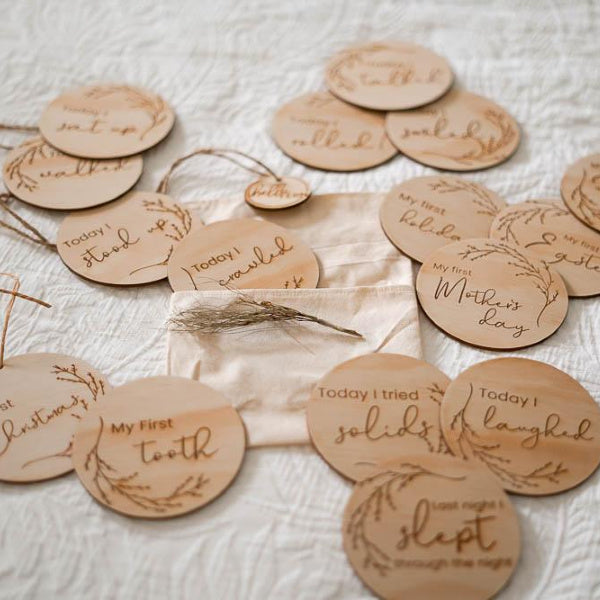 hello Fern | Wooden Achievement Milestone Discs | Whimsical | White Fox & Co