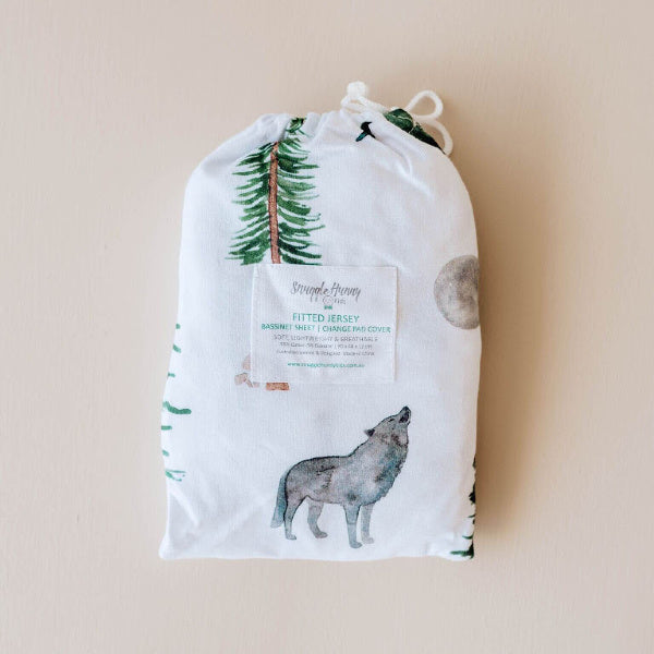 Snuggle Hunny Kids | Bassinet Sheet | Change Pad Cover | Alpha Print | White Fox & Co