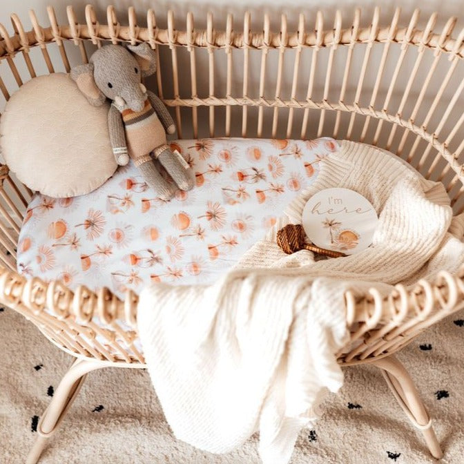 Snuggle Hunny Kids | Bassinet Sheet | Paradise | White Fox & Co