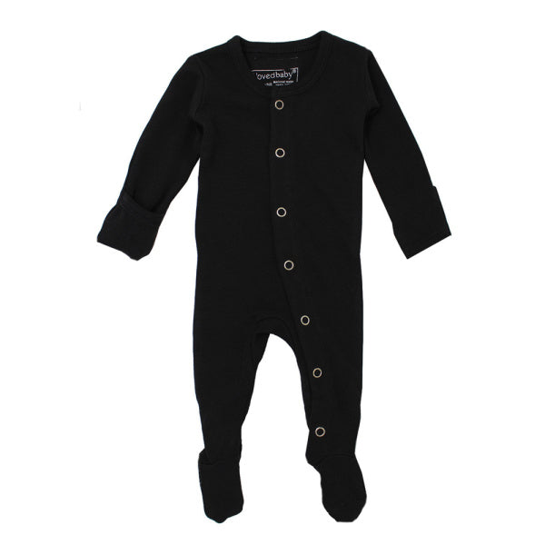 lovedbaby | Organic Footed Overall | Black | White Fox & Co