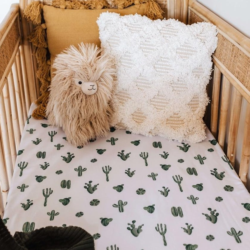Snuggle Hunny Kids | Fitted Cot Sheet | Cactus | White Fox & Co