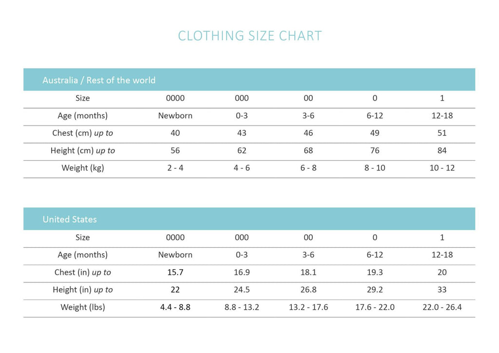 Snuggle Hunny Kids | Organic Clothing | Sizing Chart