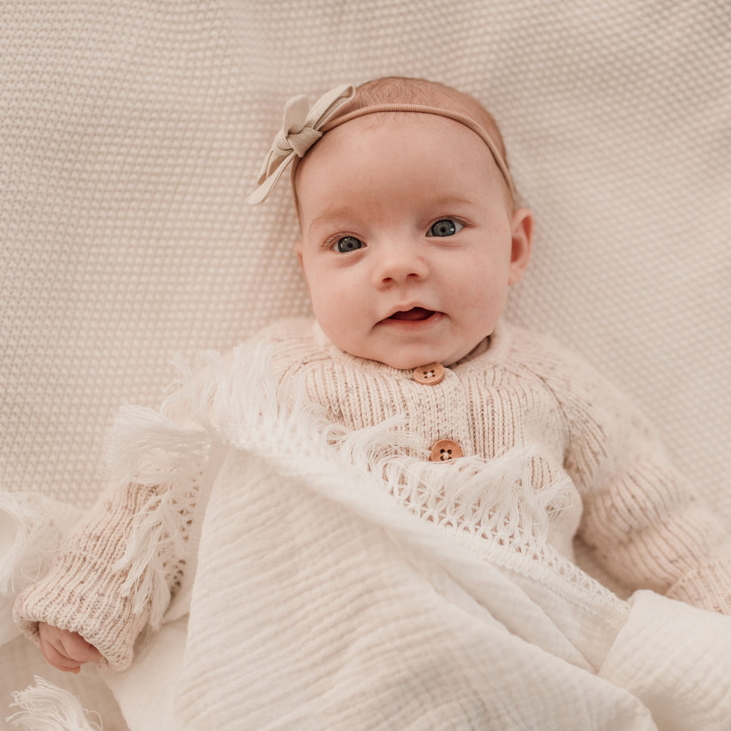 Ziggy Lou | Cream Double Gauze Swaddle | Cream Fringe | White Fox & Co