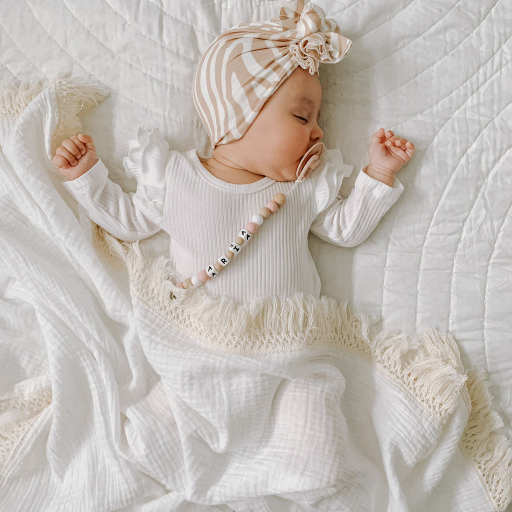 Ziggy Lou | Cream Double Gauze Swaddle | Natural Fringe | White Fox & Co