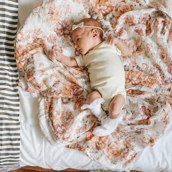 The Mini Scout | Swaddle | Sunset Floral | White | White Fox & Co