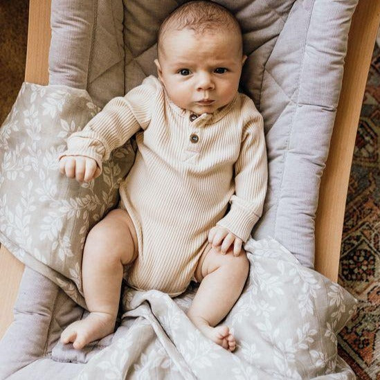 The Mini Scout | Swaddle | Leaf Sprig | Grey | White Fox & Co