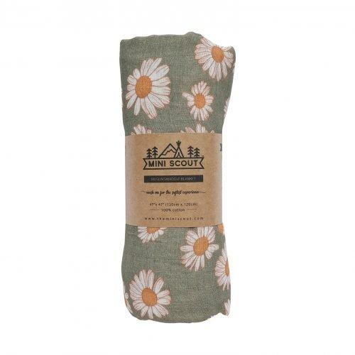 The Mini Scout | Swaddle | Daisy | Sage Green