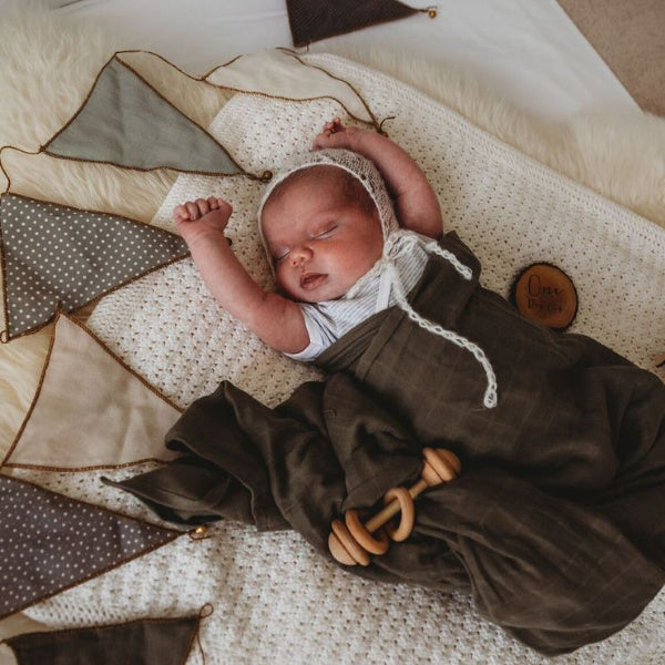 Snuggle Hunny Kids | Baby Swaddle Wrap | Dusty Olive | White Fox & Co