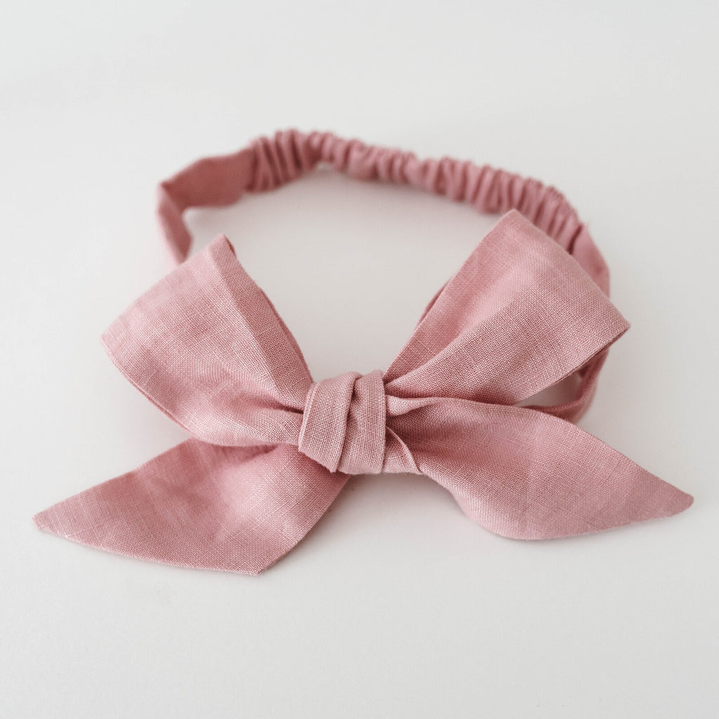 Snuggle Hunny Kids | Pre-Tied Headband Wrap | Dusty Pink Linen Bow | White Fox & Co