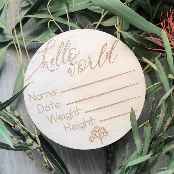 Hello Fern | Birth Annoucement | Wooden Disc | Australiana | White Fox & Co
