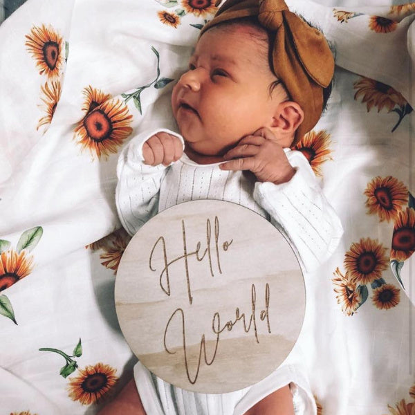 Hello Fern | Hello World | Classic | Wooden | Birth Annoucement Disc | White Fox & Co