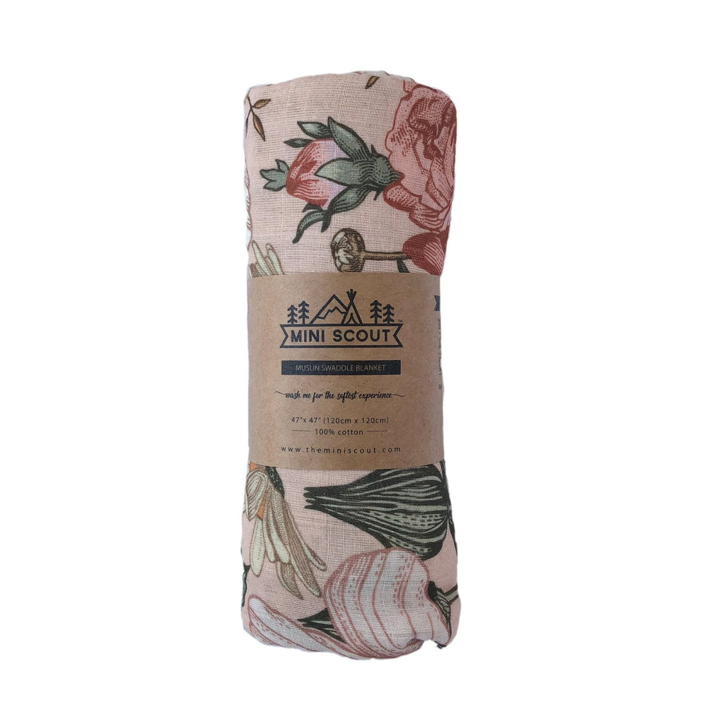 The Mini Scout | Swaddle | Garden Floral  | Rose | White Fox & Co
