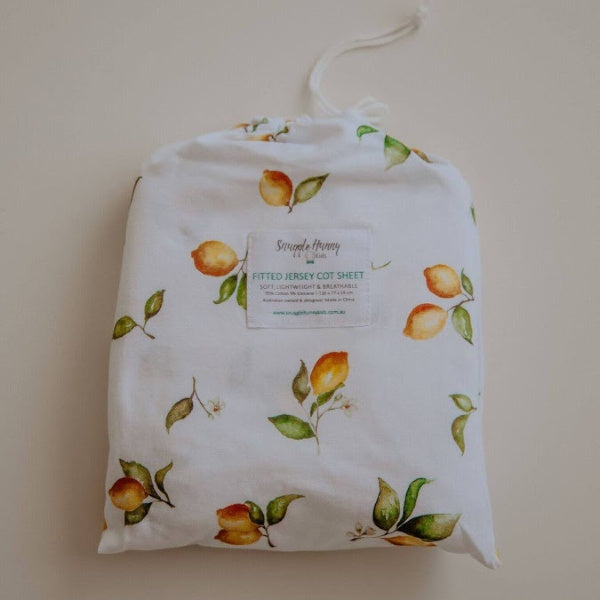 Snuggle Hunny Kids | Fitted Cot Sheet | Lemon Print | White Fox & Co