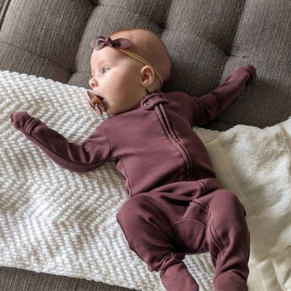 L'oved Baby Organic Zipper Footed Jumpsuit | Eggplant | White Fox & Co
