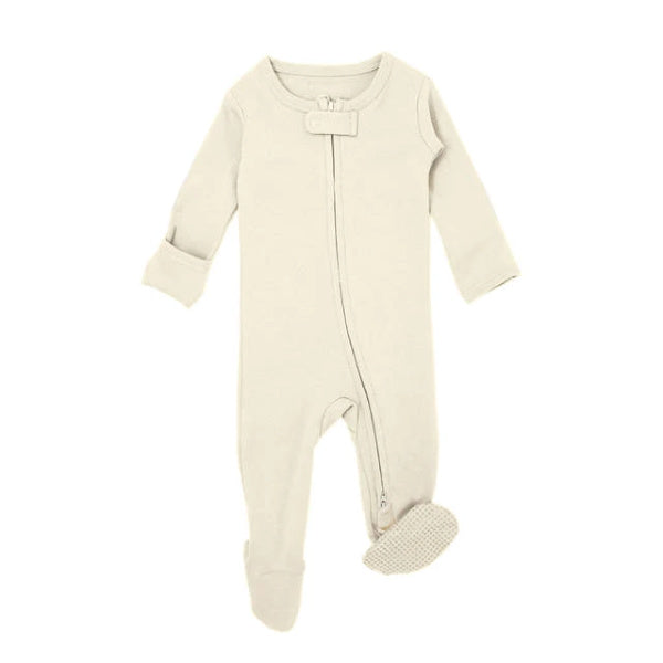 Lovedbaby | Organic Zipper Footed Overall | Beige | White Fox & Co
