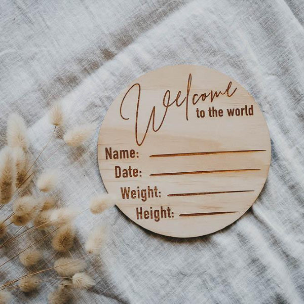 Welcome to the World | Birth Annoucement Disc | Classic | Hello Fern | White Fox & Co