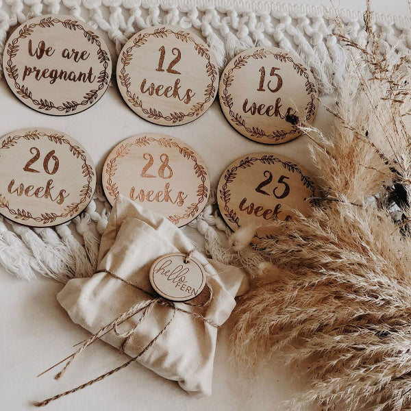 Pregnancy Milestone Discs | Wreath set | White Fox & Co