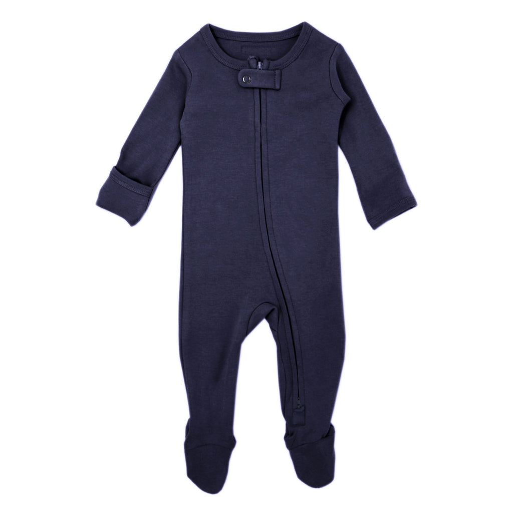 lovedbaby | Organic Zipper Footed Overall | Navy | White Fox & Co