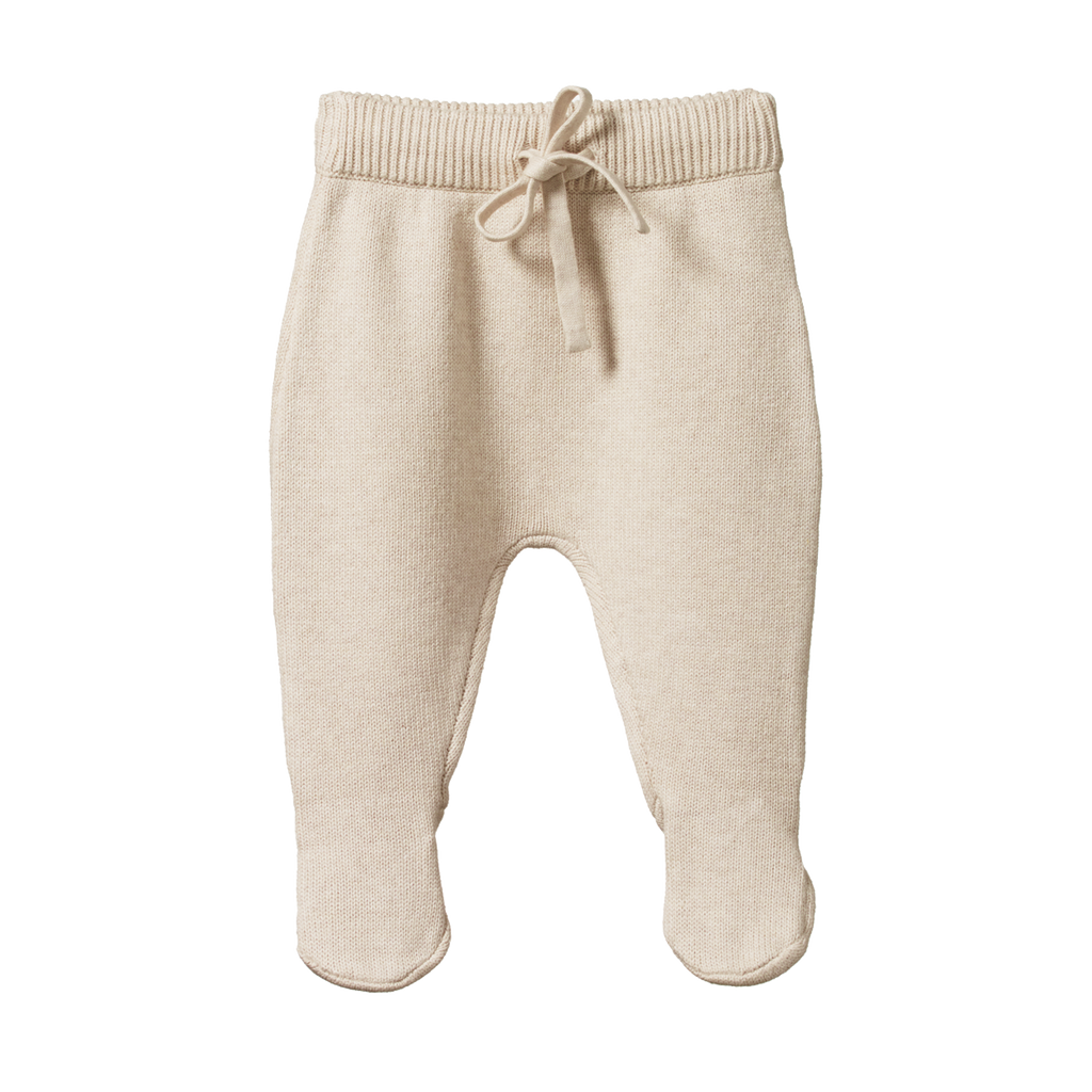Nature Baby | Cotton Knit Footed Rompers | Oatmeal Marl | White Fox & Co
