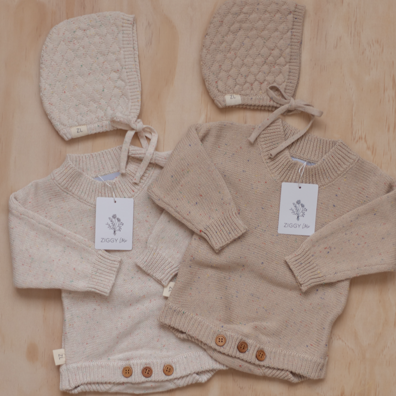 Oatmeal fleck | Newborn | Bonnet | Ziggy Lou | White Fox & Co