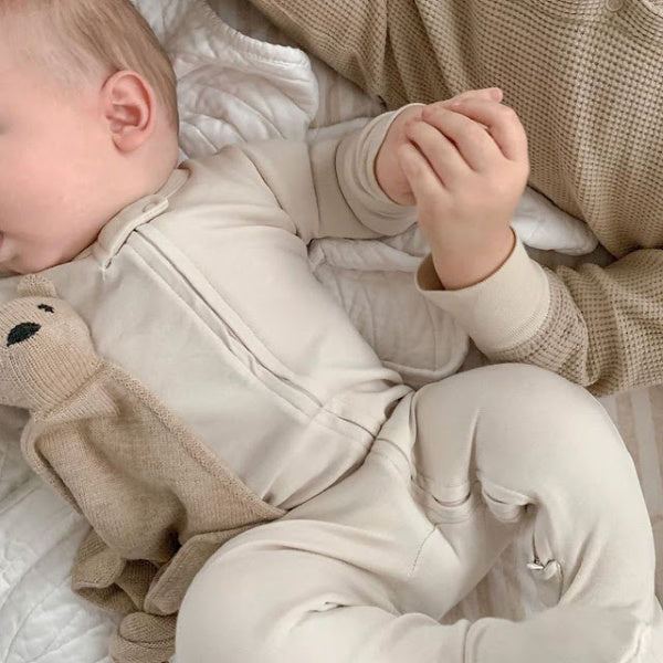 L'oved Baby | Organic Footed Overall | Zipper Jumpsuit | Stone | White Fox & Co