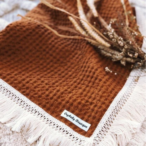 Crybaby Boutique | Fringe Waffle Blanket | Rust | White Fox & Co