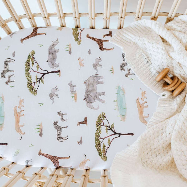 Snuggle Hunny Kids | Bassinet Sheet | Change Pad Cover | Safari Print | White Fox & Co