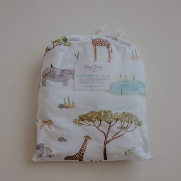 Snuggle Hunny Kids | Fitted Cot Sheet | Safari | White Fox & Co