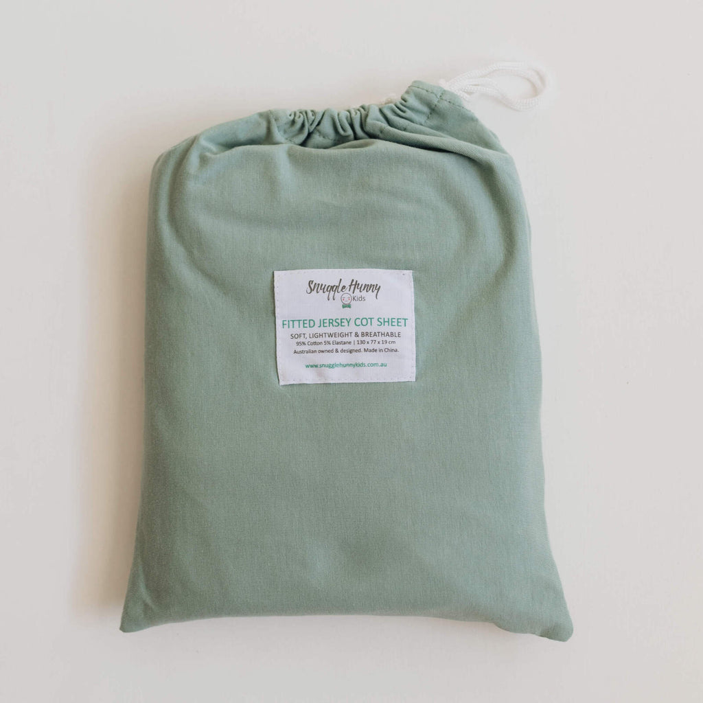 Snuggle Hunny Kids | Fitted Cot Sheet | Sage | White Fox & Co
