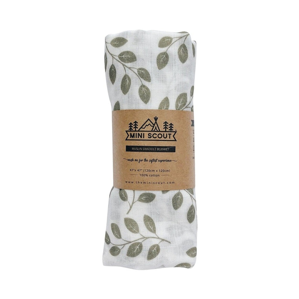 The Mini Scout | Swaddle | Leaves | Sage Green