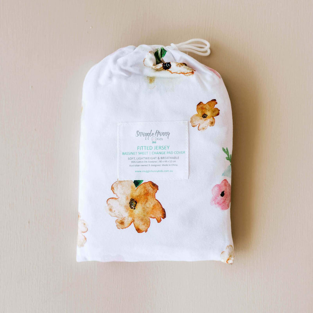 Snuggle Hunny Kids | Bassinet Sheet | Poppy | White Fox & Co