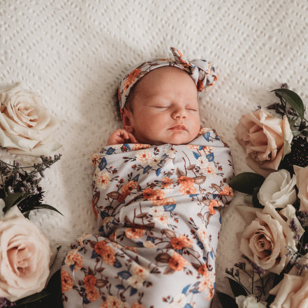Snuggle Hunny Kids | Snuggle Swaddle & Topknot Set | Vintage Blossom | White Fox & Co
