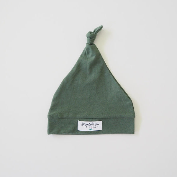 Snuggle Hunny Kids | Knotted Beanie in Olive | White Fox & Co