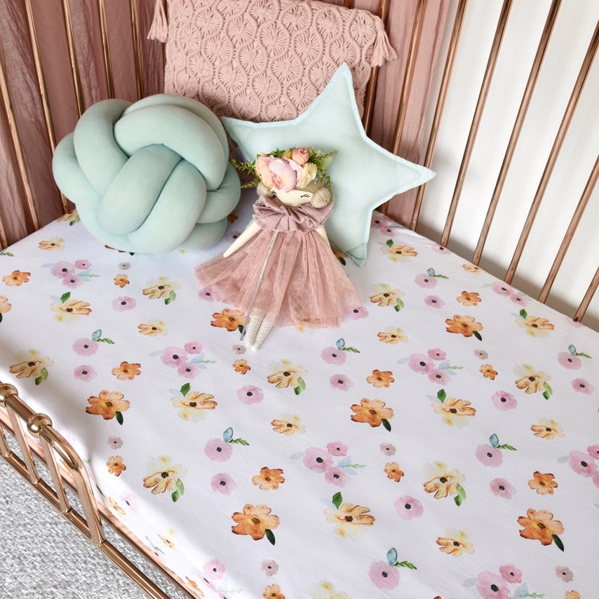 Snuggle Hunny Kids | Fitted Cot Sheet | Poppy | White Fox & Co