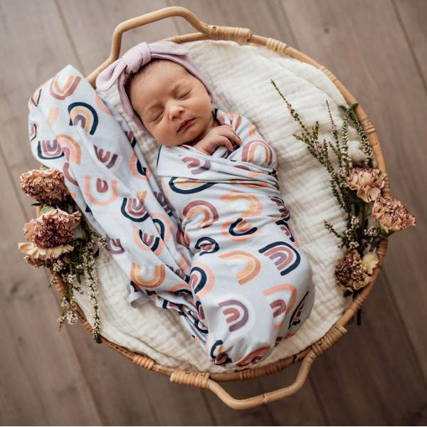 Snuggle Hunny Kids | Baby Jersey Wrap + Beanie Set | Sunset Rainbow | White Fox & Co